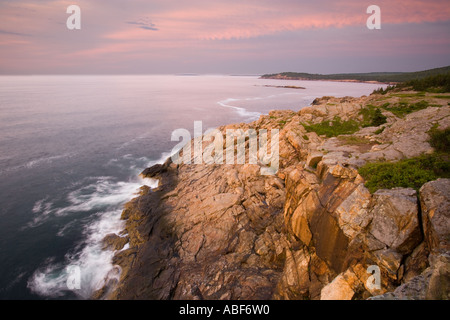 Dawn over Great Head and Frenchman Bay in Maine s Acadia National Park Gulf of Maine - Stock Photo