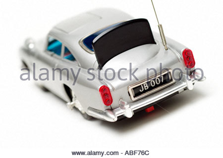 James Bond Vintage Toy car from Movie Thunderball Aston Martin DB5 with Bullet Shield - Stock Photo
