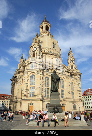 Germany, Dresden, Church of Our Lady, Frauenkirche, UNESCO world heritage monument - Stock Photo