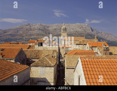 Croatia Dalmatian Coast Korcula centre of town looking north overhead view  - Stock Photo