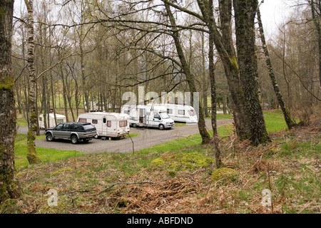UK Scotland Highlands Killin Clachan Caravan Club site in spring - Stock Photo