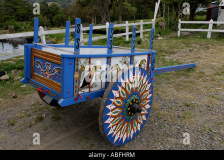 Traditional hand painted Costa Rican ox cart - Stock Photo