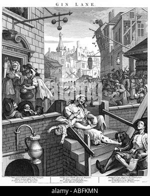 Gin Lane William Hogarth 3rd state of the 1751 engraving showing the iniquitous effects of 18th century London craze - Stock Photo