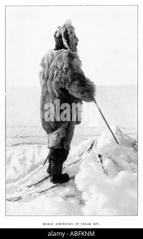 Roald Amundsen in Polar Kit the Norwegian explorer on his successful 1911 expedition to the South Pole - Stock Photo