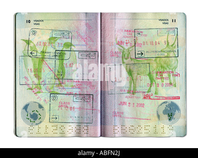 STAMPS IN SPANISH  PASSPORT ON WHITE BACKGROUND - Stock Photo