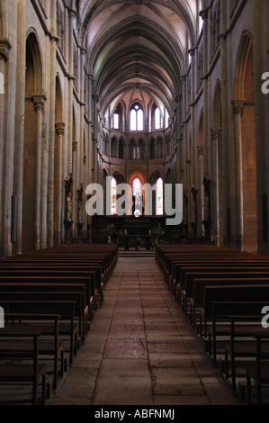 Saint-Antoine l'Abbaye, church interior - Stock Photo