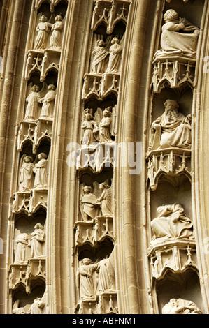 Saint-Antoine l'Abbaye, detail of facade - Stock Photo