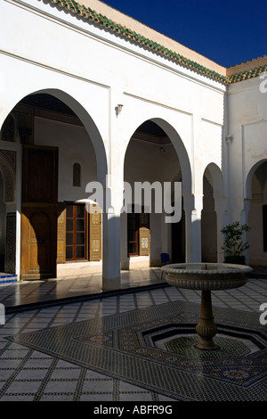 Small Courtyard with fountain Palais de la Bahia Marrakech Morocco - Stock Photo