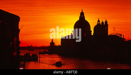 Europe Italy Veneto Venice Grand Canal & Santa Maria Della Salute - Stock Photo