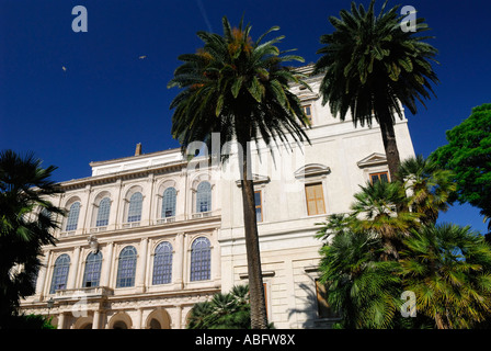 National Gallery of Antique Art in the Corsini Palace Rome Italy with palm trees and blue sky - Stock Photo