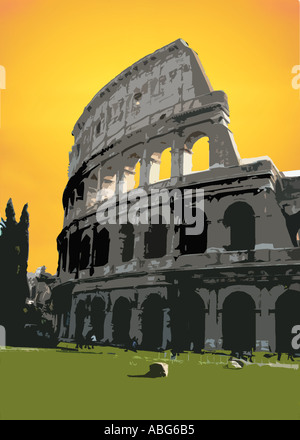 Illustration of the Coliseum in Rome Italy - Stock Photo