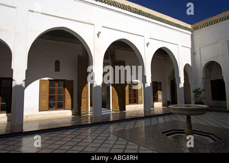 Small courtyard with arches and fountain Palais de la Bahia Marrakech Morocco - Stock Photo