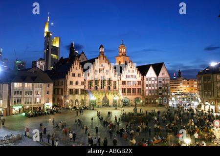 Roemer at night, Frankfurt am Main, Hesse, Germany - Stock Photo
