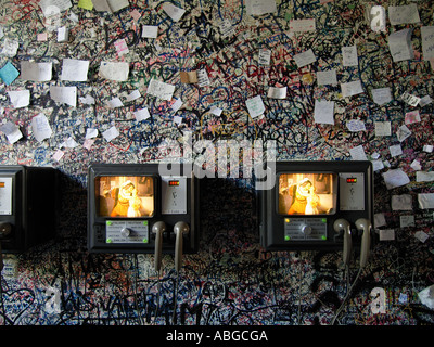 Graffiti and notes on wall near Juliets balcony in Verona Italy with machines that tell the tragedy of the couple - Stock Photo