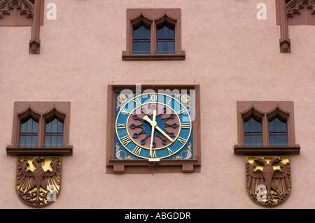 Roemer, cityhall clock, Frankfurt am Main, Hesse, Germany - Stock Photo