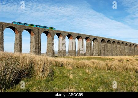 Two car sprinter crossing Ribblehead viaduct