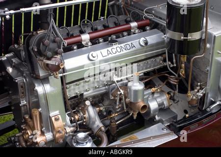 Close up Lagonda Continental 2 Litre engine and bay - Stock Photo