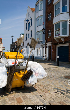 Refuse collection trolley cart Old Portsmouth Hampshire UK - Stock Photo