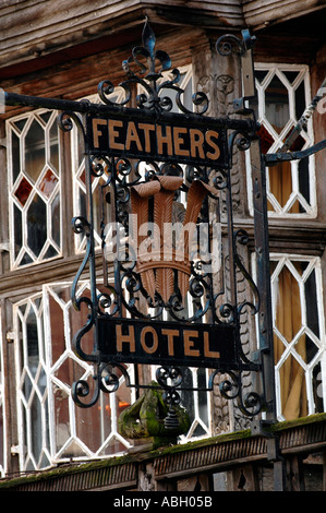 Exterior of the timber framed Feathers Hotel Ludlow Shropshire England UK built in 1619 during the reign of King - Stock Photo