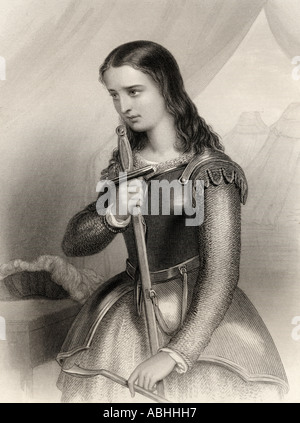 Joan of Arc,1412 -1431. aka Jeanne d'Arc or Jeanne la Pucelle. French heroine and Saint of the Catholic church. - Stock Photo