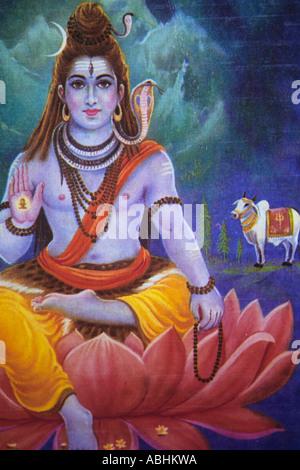 Painting of the hindu god with lotus flower burmese painting stock the hindu god krishna seated in a lotus flower stock photo mightylinksfo
