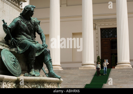 Monument to Poet János Arany in front of Hungarian National Museum Pest Budapest Hungary - Stock Photo