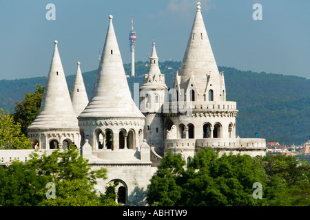 View to the Fishermen s Bastion symbolising the seven Magyar tribes at Castle Hill Buda Budapest Hungary - Stock Photo