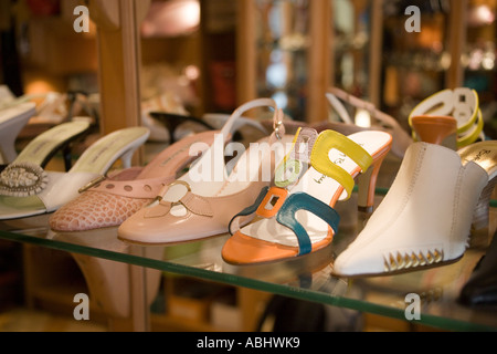 Exclusive shoesof a shoe boutique at Vaci Street Pest Budapest Hungary - Stock Photo
