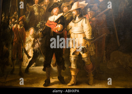 The painting The Nightwatch by Rembrandt van Rijn Rijksmuseum Amsterdam Holland Netherlands - Stock Photo