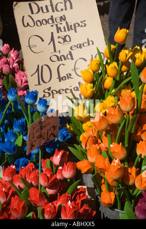 Bloemenmarkt flower market in Singel Gracht Amsterdam Holland Netherlands - Stock Photo