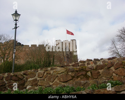 Tamworth Castle from the Gardens - Stock Photo