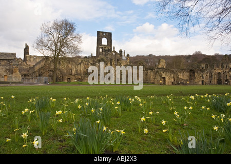 Kirkstall Abbey in Leeds Yorkshire UK - Stock Photo