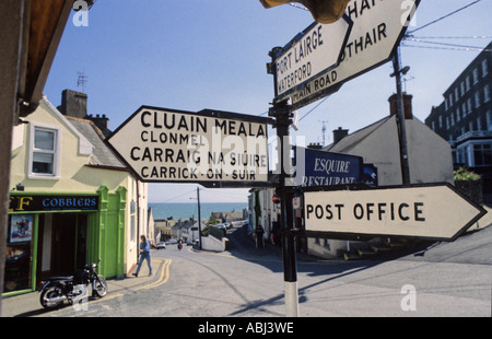 Signpost in Tramore, County Waterford, Republic of Ireland - Stock Photo
