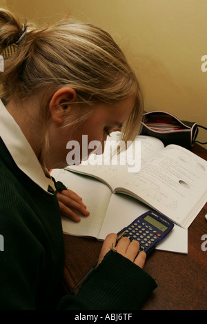 teenage girl doing maths homework - Stock Photo