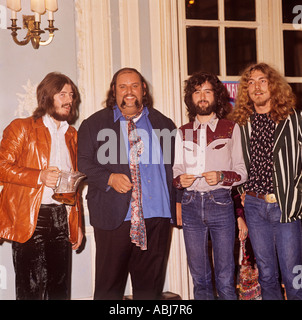 Led Zeppelin, picture shows l -r John Bonner drummer, Peter Grant  manager, Jimmy Page lead guitarist, and Robert - Stock Photo