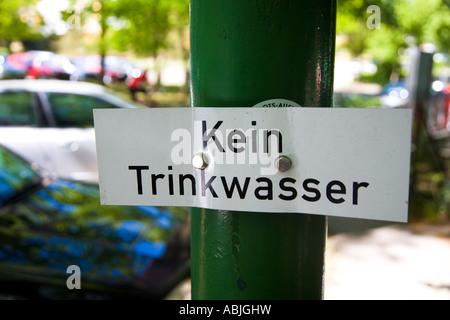 Kein Trinkwasser Schild Berlin Germany Deutschland - Stock Photo