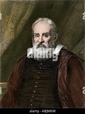 Galileo Galilei astronomer and physicist. Hand-colored woodcut - Stock Photo