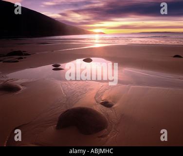 IE - CO.MAYO: Sunset at Doogort Strand on Achill Island - Stock Photo