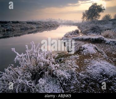 GB - WORCESTERSHIRE:  Winter along River Avon near Bredon's Norton - Stock Photo