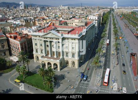 Panoramic view of Passeig de Colom Barcelona Barça Barca Catalonia Catalunya Cataluña Costa Brava España Spain Europe - Stock Photo