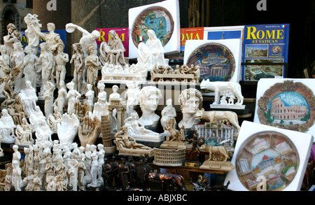 Tourist stand and souvenirs Rome Italy - Stock Photo