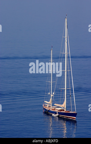 Sailing Boat at shore Positano Amalfi Coast Italy - Stock Photo
