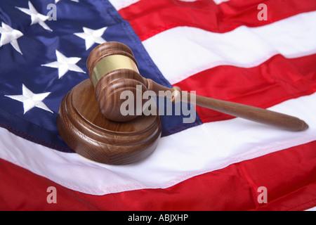 Gavel on American flag - Stock Photo