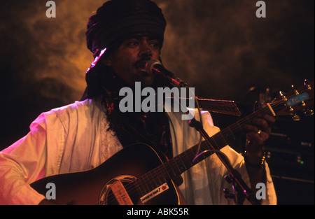 Abdallah from the group Tinariwen, the rebel Tuareg musicians from the desert of Northern Mali, West Africa - Stock Photo