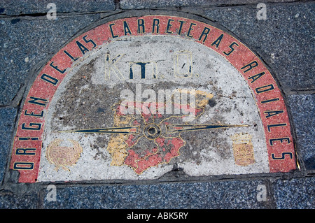 Old ground sign of beginning and  radial directing route,Plaza Mayor, Madrid, Spain - Stock Photo