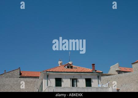 Stone buildings in Drovnic, Croatia - Stock Photo
