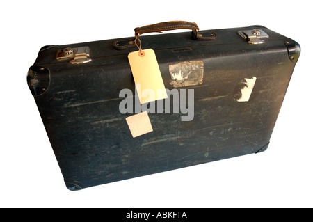 Old suitcase, wide angle (with clipping path) - Stock Photo
