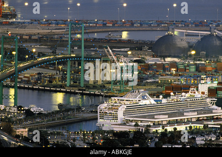 Princess Cruises luxury liner the Sapphire Princess docked near the Vincent Thomas Bridge in the San Pedro harbor, - Stock Photo