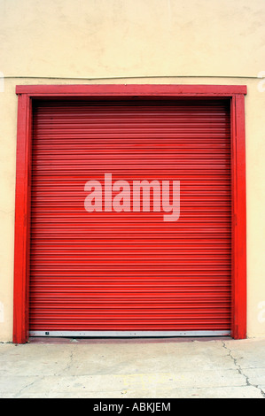 Red roll up door San Diego Firehouse Museum - Stock Photo