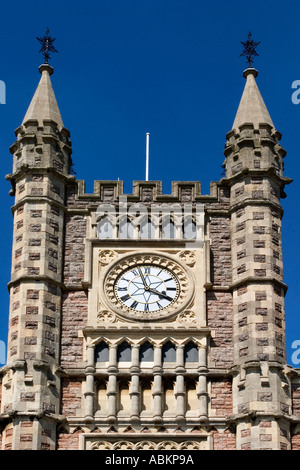 Clock Tower Over The Main Entrance to Temple Meads Railway Station in Bristol England - Stock Photo